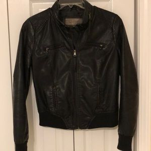 Short Black Faux Leather Jacket